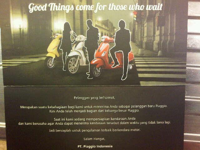 Kartu dari Piaggio Indonesia bagi mereka yang deliverynya telat